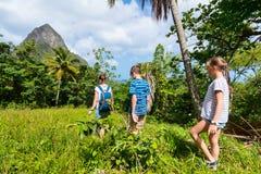 Пеший туризм семьи стоковая фотография rf