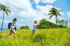 Пеший туризм семьи стоковые фотографии rf