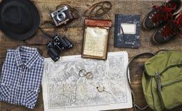 Пеший туризм Flatlay верхний старый Стоковое Изображение