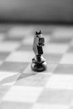 Пешка рыцаря шахмат на конце шахматной доски вверх черная белизна Стоковая Фотография