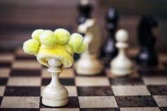 Пешка шахмат в сдуру шляпе стоковое изображение rf