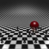 Пешки и шарик на шахматной доске Стоковая Фотография RF