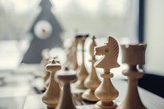 Пешки шахмат на доске Стоковые Изображения