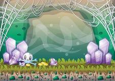 Пещера вектора шаржа с отделенными слоями для игры и анимации Стоковое Фото