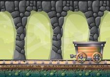 Пещера вектора шаржа с отделенными слоями для игры и анимации Стоковые Фото