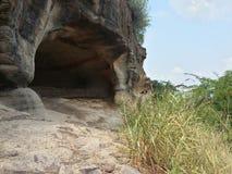 Пещера в scrubland с травой поля снаружи Стоковое Изображение RF