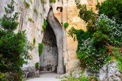 Пещера известняка вызвала Ухо Dionysius на Сицилии стоковое изображение rf