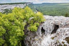 Пещера на верхней части горы, взгляде леса и долине стоковое изображение