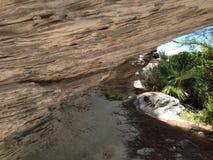 Пещера на пляже маяка, Эльютере, Багамских островах Стоковая Фотография RF