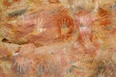 Пещера с рукой печатает, cueva de las manos Стоковые Фотографии RF