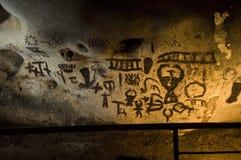 Пещера Magura в Болгарии Доисторические картины на утесе стоковое изображение rf