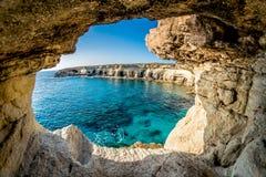 Пещеры моря около Ayia Napa, Кипра Стоковое Изображение RF