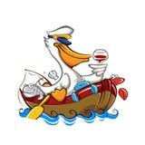 Пеликан шаржа с шляпой капитана Стоковые Изображения RF