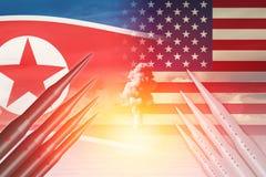 Пивничнокорейськое нападение испытания ракеты обеда ICBM с США Америкой для ядерной бомбы Стоковое Изображение RF