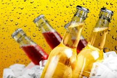 Пивные бутылки в льде на влажной стеклянной предпосылке Стоковые Фото