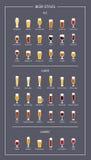 Пиво вводит гида в моду, плоских значков на темной предпосылке вектор бесплатная иллюстрация