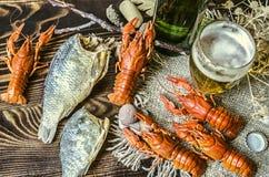 Пиво в стекле и бутылке пива с закуской кипеть рыб craw и высушенных посоленных рыб Стоковые Изображения