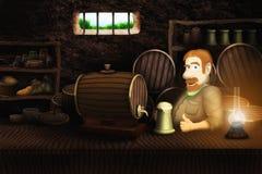Пиво жизнерадостного barman выпивая иллюстрация штока