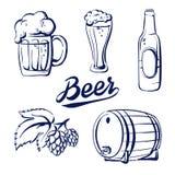 Пиво значка установленное иллюстрация штока