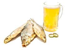 Пиво и 3 посоленных рыбы на белизне Стоковое фото RF