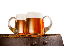 Пиво на белой предпосылке Стоковые Фото