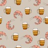 Пиво с картиной креветок Предпосылка вектора шаржа Стоковое Изображение RF
