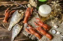 Пиво с пеной в стекле и высушенных посоленных рыбах и с кипеть красными раками Стоковое Изображение RF