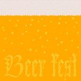 Пиво с пеной и пузыри подписывают фестиваль пива иллюстрация штока