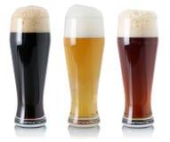 Пиво установленное в стекло с пеной Стоковое Фото