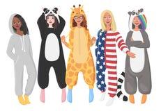 Пижамы плюша ` s женщин цельные иллюстрация вектора