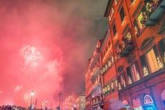 ПИЗА, ИТАЛИЯ - 16-ОЕ ИЮНЯ 2016: Luminara в центре города на заходе солнца Стоковое фото RF