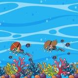 Пикирование акваланга детей Doodle подводное иллюстрация вектора