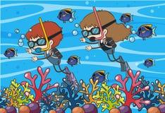 Пикирование акваланга детей Doodle подводное иллюстрация штока