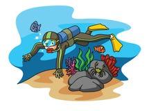 Пикирование акваланга иллюстрация штока