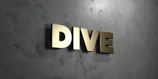 Пикирование - знак золота установленный на лоснистой мраморной стене - 3D представило иллюстрацию неизрасходованного запаса корол бесплатная иллюстрация