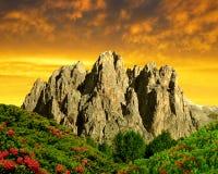 пики доломита rosengarten Стоковые Изображения RF