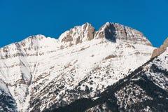 Пики Mount Olympus с снегом стоковое изображение rf