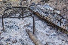 Пикник барбекю, гольф, огонь, огонь, древесина Стоковая Фотография RF