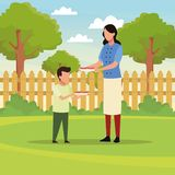 Пикник барбекю семьи иллюстрация вектора