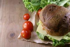 Пикник, бургер с мясом, сыр и свежие овощи Стоковые Изображения RF
