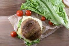 Пикник, бургер с мясом, сыр и свежие овощи Стоковое Изображение