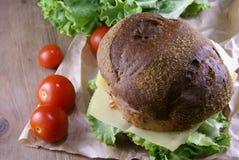 Пикник, бургер с мясом, сыр и свежие овощи Стоковые Фото