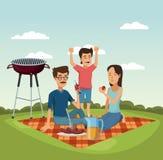 Пикник в шаржах парка иллюстрация вектора