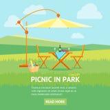 Пикник лета в знамени парка вектор иллюстрация штока