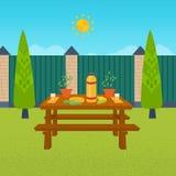 Пикник лета Таблица с едой и питьем иллюстрация штока