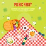 Пикник лета шаржа в предпосылке карточки корзины парка вектор иллюстрация штока