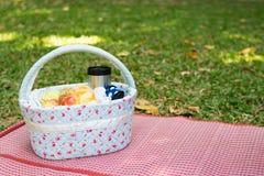 пикник корзины на луге Стоковые Фотографии RF