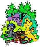 пикник котов иллюстрация штока