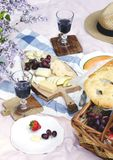 Пикник лета с сыром, вином, плодоовощами и хлебом Стоковое Фото