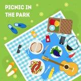 Пикник лета шаржа в плакате карточки корзины парка вектор иллюстрация штока